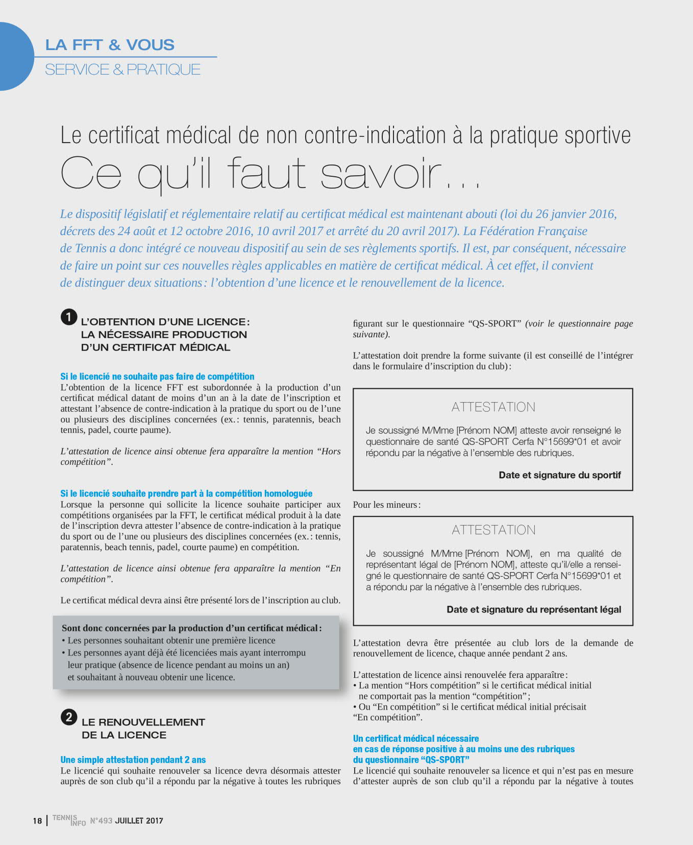 le certificat medical article